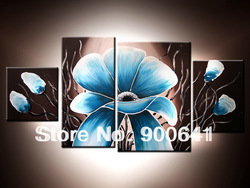 Free Shipping & Framed Oil Painting Blue Flowers 105cmx50cm Canvas Hand-painted wall art Deco Art HD184(China (Mainland))
