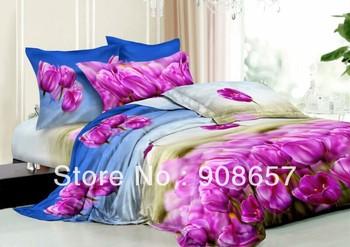 light purple tulip flower cheaper 3D bedding set discount oil painted print queen/full duvet covers sets 4pc for quilt/comforter