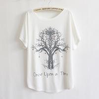 [Magic] love tree printing high quality cotton t shirt women loose short sleeve LBZ15 free shipping