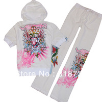 Free shipping, New arrival E d H a r d y hip hop skull pattern women's clothes casual suit