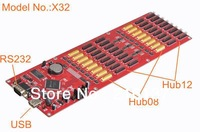 Free Shipping X32 ED Display Controller with 32*Hub12 +16*Hub08 RS232 + USB 512*9999 Drive Pixels Asynchronous Display