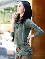 2014 autumn OL loose long-sleeve faux two piece t-shirt womens solid color plus size medium-long t shirt 100% cotton slim shirt