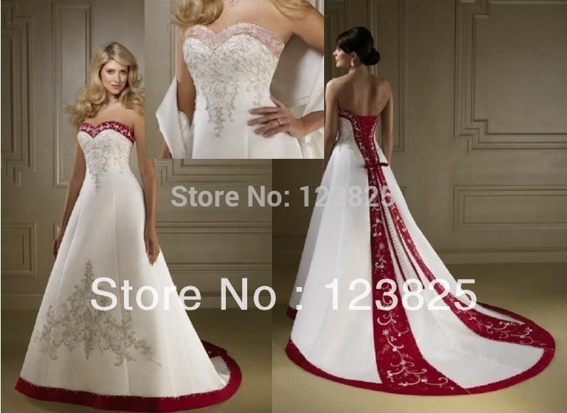 Vestido de novia color blanco con rojo