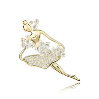Cute Ballet Girl 2013 Fashion austrian crystal brooch Luxury Real Gold Plated Fashion Jewelry for Girls Low Price Promotion