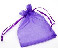 100 Dark Purple Drawable Organza Wedding Gift Bags 9x7cm