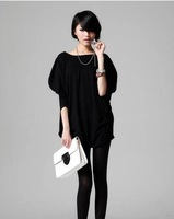 2013 summer maternity clothing thin fat women plus size black batwing sleeve shirt loose long design pregnant  t-shirt
