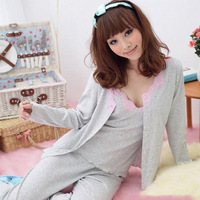 Cotton sleepwear thickening female spring and autumn sleepwear female pure cotton long-sleeve sexy lace decoration piece set