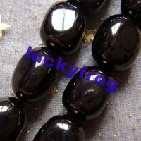 wholesale AAA 10x14mm Black Jet Lignite irregular Loose Beads Free Shipping