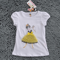 Wholesale lovely girl with yellow flowers design.kids t-shirts, short sleeve cotton baby tee shirt,5pcs/lot