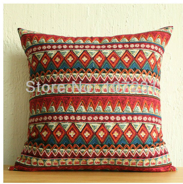 "AztecTribal Tribe Pattern 18"" 45cm Vintage Throw Pillow Case Fancy Cushion cover Protector Colorful(China (Mainland))"