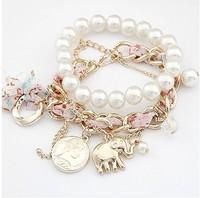 Free shipping 2014 new jewelry european fashion noble elephant animal pendant chiffon pearl corn bracelet wrape multicolor women