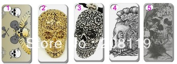 10PCS/LOT 2013 Hard Back Case Cover Skin THE FLORAL SKULL  for iPHONE 5 5G 5S 5TH Mobile Cell Phone Free Shipping