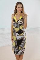 2013 New Sexy Women Open-Back Wrap Front Shoulder-Straps Swimsuits Bikini Cover Ups Beach Wrap Dress Swimming Wear Hot Sale
