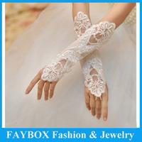 Free shipping 28cm long Fashion New design Lace beads Bridal Wedding fingerless gloves