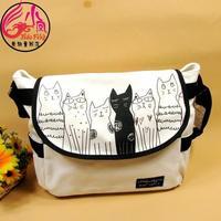fashion cat dog print female messenger bag casual women's handbag student school bag canvas