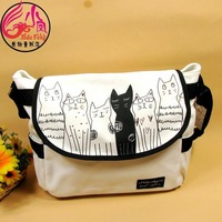 Neko cat dog messenger bag casual women's handbag student school bag canvas