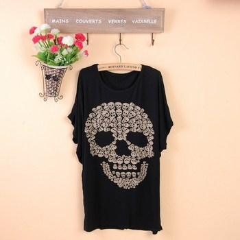 Hot Sale summer skull plus size loose modal t-shirt short-sleeve Short shirt for women free shipping
