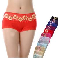 5PCS/lot  Lace Modal Cotton Underwear Breathable Bamboo Fiber Briefs  U217