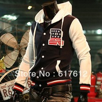 2013 Free shipping Men's hoody Jacket Hoodies R Letter Baseball Uniform Baseball Coat Sweatshirt Cardigan XXL Sweatshirts Black