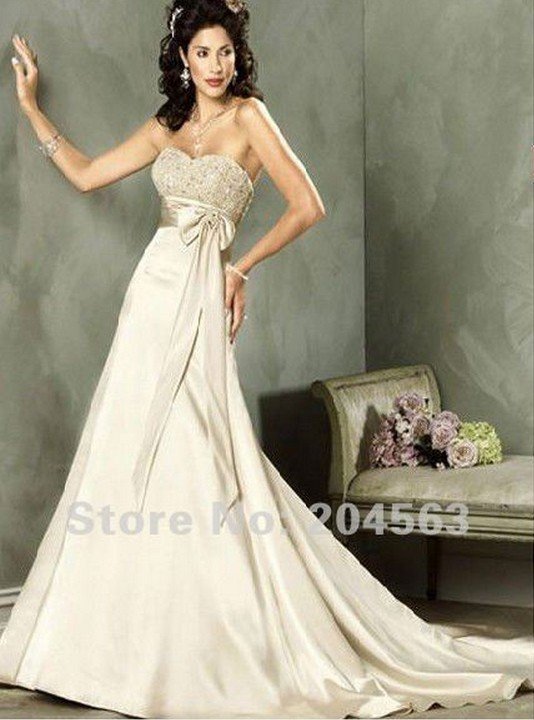 shipping free empire waist beaded bowknot buy wedding dresses online(China (Mainland))