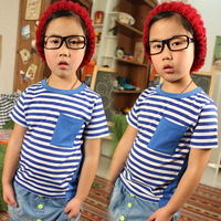 2013 spring children's clothing stripe color block decoration pocket child baby child male short-sleeve T-shirt 5600