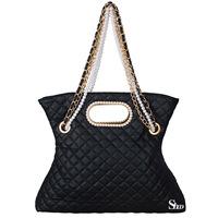 Free shipping-2013 women's handbag pearl string black plaid chain big bag fashionable casual fashion bag