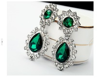 Min.order is $15 (mix order)SE101 2013 new women alloy Zircon the green crystal mosaic pattern earrings  Free shipping