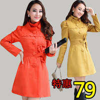 Free shipping brand discount 75% 2013 spring and autumn medium-long tiebelt stand collar trench women's outerwear