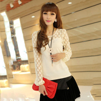Free shipping brand discount 75% 2013 spring female chiffon shirt women's long-sleeve t shirt solid color basic t-shirt