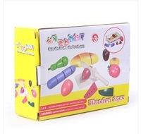 Hot Gift for kids Children's fruit Vegetables Kitchen slice and see and toy play mother toys cut Food tool box free shipping