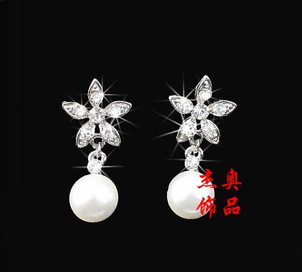 Min order is 10 mix order Geo victoria earrings bride marriage accessories pearl earrings rhinestone