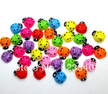 Free Shipping! 100pcs lovely Polka Dot Ladybug Cabochons Scrapbook Cell phone decor, hair accessory supply, embellishment