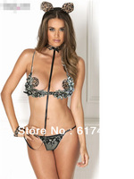 Gather black temptation sexy lingerie sexy bikini  Sequins black flower dress + G-strings fancy costumes Free shipping