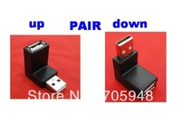Pair Up + Down Right angled 90degree USB 2.0 A Male AM to Female converters adapters adapter FREESHIPPING