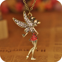 Free shipping 2013 new style Fashion accessories metal alloy fairy pendant with rhinestone antique bronze plated neklace
