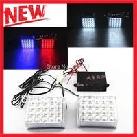 2 x 20 Led Warning light auto strobe light Red Blue / Full White Emergency flashing lamp with strobe controller, Free shipping