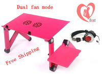 Free Shipping 17inch Laptop cooler with radiator,bed lazy computer desk,dual-fan radiator