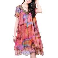 SALE Loose plus size mm one-piece dress summer new arrival plus size XXXL women's chiffon silk leopard print  Women's Clothing