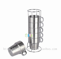Double layer stainless steel child cup stainless steel cup coffee cup cups 7 cup /set cup holder