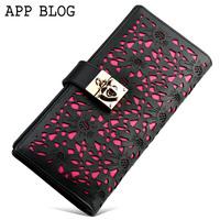 Free shipping App blog cutout cowhide wallet female long design women's wallet flower wallet