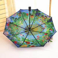 Totoro umbrella double layer sun umbrella three fold umbrella automatic umbrella oil painting umbrella