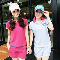 Sports casual set Women summer 100% cotton turn-down collar 2013 new arrival fashion