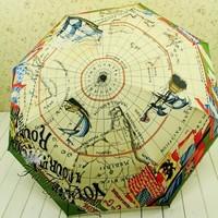 Pirate map fully-automatic 2 uv sun protection umbrella folding umbrella 3