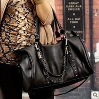 Free shipping,2013 new designer  female cross-body women's handbag shoulder bag big bag vintage chain black rivet