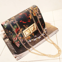 2013 women's spring handbag vintage oil painting flower chain bag mini one shoulder cross-body bag small
