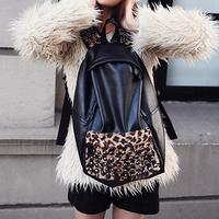 2012 fashion bag leopard print rivet backpack vintage british style student bag Free shipping