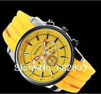 2014 New style Fashion hot geneva rubber silicone quartz watch women men sports Wristwatches personality free shipping