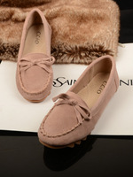 2013 spring and autumn shallow mouth bow round toe flat heel single shoes flat scrub gommini genuine leather loafers cow muscle