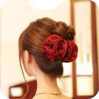 Oh0130 accessories silk Large rose gripper hair accessory hairpin hair accessory 54g