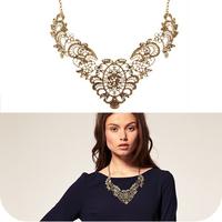 On0153 fashion vintage lace luxury metal capillament gentlewomen short necklace 26g